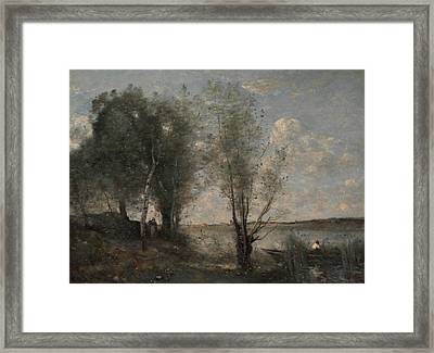 Boatman Among The Reeds Framed Print