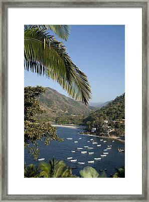 Boats And Beach In Yelpa Framed Print by Carl Purcell