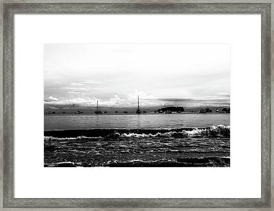 Boats And Clouds Framed Print