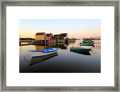 Boats And Fish Shacks At Blue Rocks, Nova Scotia Framed Print