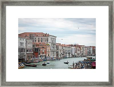 Boats And Gondolas In Grand Canal Framed Print