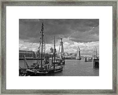 Boats And Shard And Tower Bridge Bw Framed Print by Gary Eason