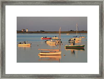 Boats And Stage Harbor Lighthouse Chatham Cape Cod Framed Print by John Burk