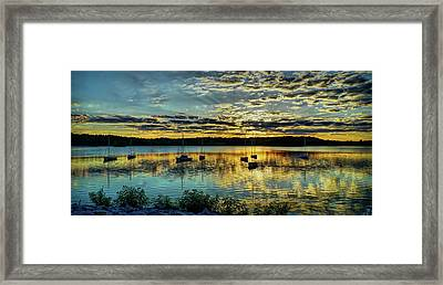 Boats And Sunset Reflections Framed Print by Lilia D