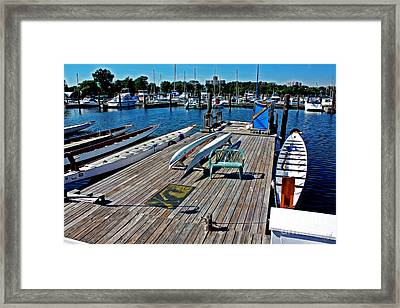 Boats At An Empty Dock 1 Framed Print