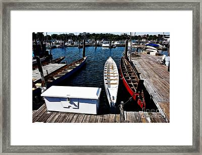 Boats At An Empty Dock 3 Framed Print