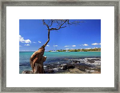 Boats At Anaehoomalu Bay Framed Print by James Eddy