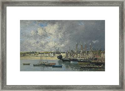 Boats At Anchor In The Harbor, Portrieux Framed Print by Eugene Boudin