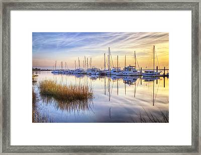 Boats At Calm Framed Print by Debra and Dave Vanderlaan