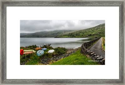 Boats At Cwmystradllyn  Framed Print by Adrian Evans