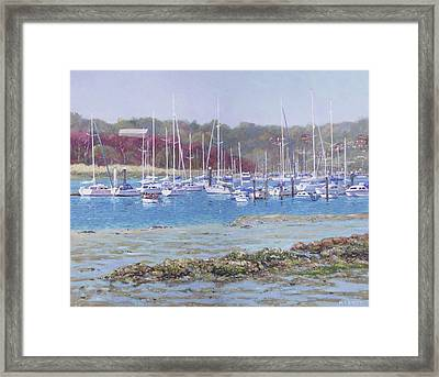 Framed Print featuring the painting Boats At Hamble Marina by Martin Davey