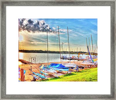 Boats At Lake Decatur Framed Print by Ann Higgens
