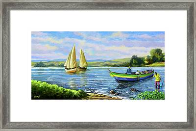 Framed Print featuring the painting Boats At Lake Victoria by Anthony Mwangi