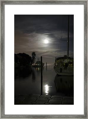 Boats At Moon Rise Framed Print