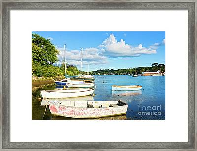 Boats At Mylor Bridge Framed Print by Terri Waters
