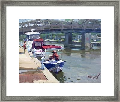 Boats At North Tonawanda Canal Framed Print