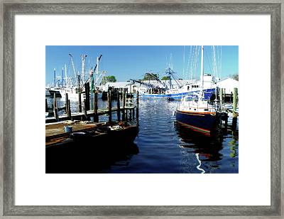 Boats At Orental Framed Print by Alan Hausenflock