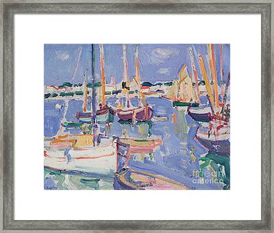 Boats At Royan Framed Print by Samuel John Peploe