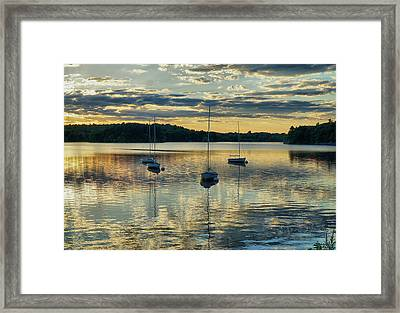 Boats At Sunset Framed Print