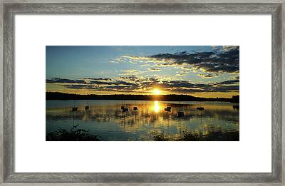 Boats At Sunset Panoramic Framed Print by Lilia D