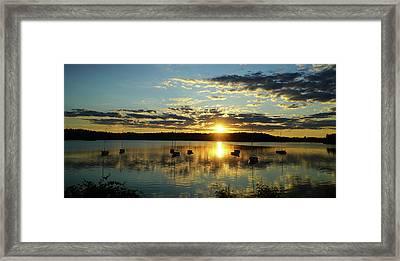 Boats At Sunset Panoramic Framed Print