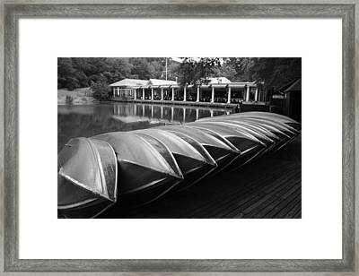 Boats At The Boat House Central Park Framed Print
