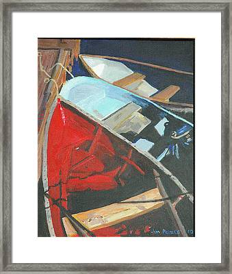 Boats At The Dock Framed Print by Jim Peirce