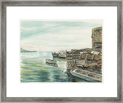 Boats At The Dock Framed Print by Samuel Showman