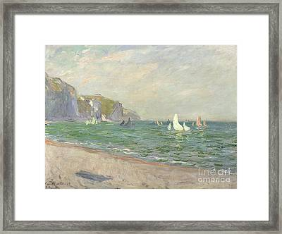 Boats Below The Cliffs At Pourville Framed Print by Claude Monet