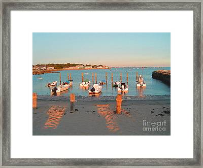 Boats By The Beach Framed Print