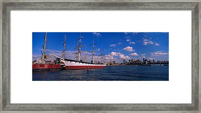 Boats Docked At A Seaport, South Street Framed Print by Panoramic Images