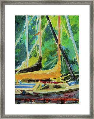 Boats Docked In The Morning Framed Print by Margaret  Plumb