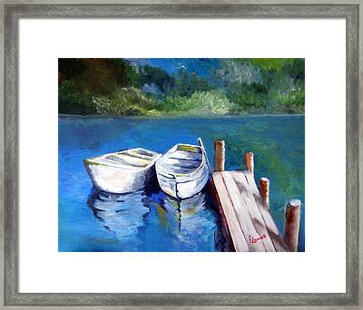 Boats Docked Framed Print by Julie Lamons