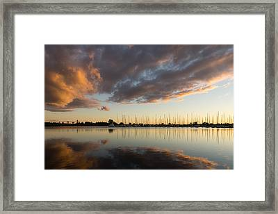 Boats And Clouds Summer Sunset Framed Print by Georgia Mizuleva