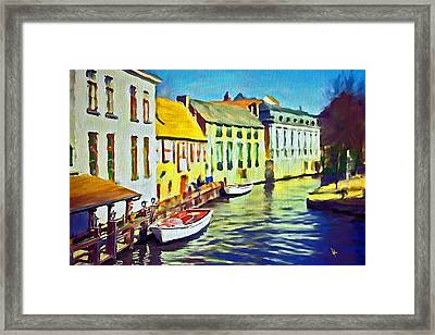 Boat In Channel Little White Boat Small Boat Painting Old Boat Painting Abstract Boat Art Countrysid Framed Print by Vya Artist
