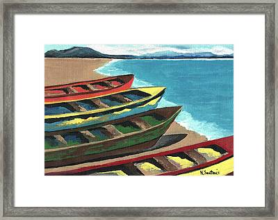 Boats In A Row Framed Print by Kathleen Sartoris