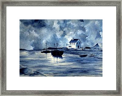 Boats In Blue Framed Print by Michael Vigliotti