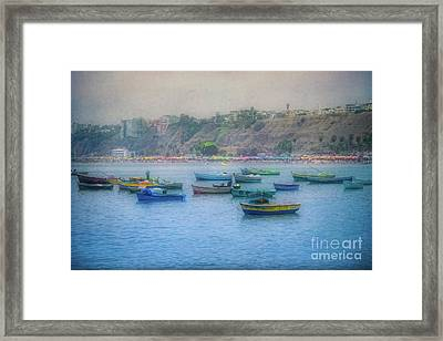 Framed Print featuring the photograph Boats In Blue Twilight - Lima, Peru by Mary Machare