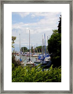 Boats In Harbour Framed Print by Art Tilley