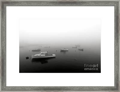 Boats In Maine Fog Framed Print