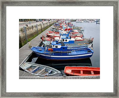 Framed Print featuring the photograph Boats In Norway by Joan  Minchak