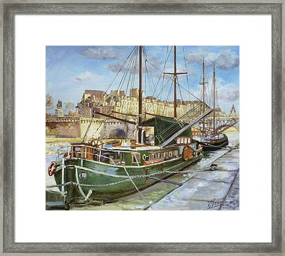 Boats In Paris, Pont Neuf Framed Print