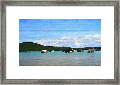 Boats In Sleeping Bear Bay Wood Texture Framed Print by Dan Sproul