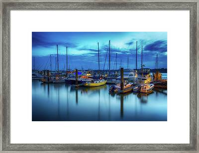 Boats In The Bay Framed Print
