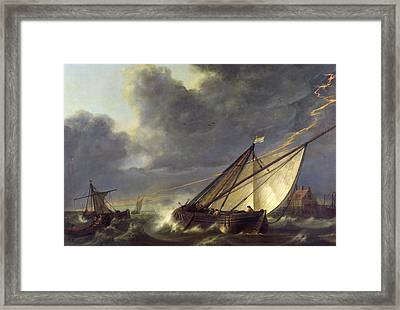 Boats In The Estuary Of Holland Diep In A Storm Framed Print by Aelbert Cuyp