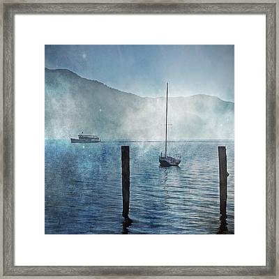 Boats In The Fog Framed Print