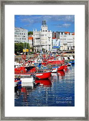 Boats In The Harbor - La Coruna Framed Print