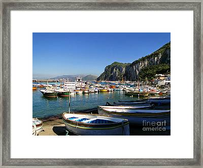 Boats In The Harbor Framed Print by Sue Melvin