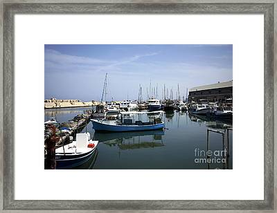 Boats In The Jaffa Port Framed Print
