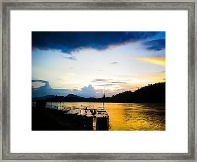 Boats In The Mekong River, Luang Prabang At Sunset Framed Print